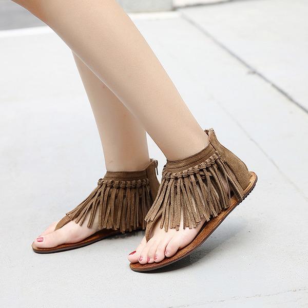Frauen Wildleder Flascher Absatz Sandalen mit Quaste Schuhe