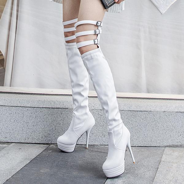 Женщины кожа Высокий тонкий каблук На каблуках Платформа Ботинки Сапоги выше колен с пряжка В дырочку обувь