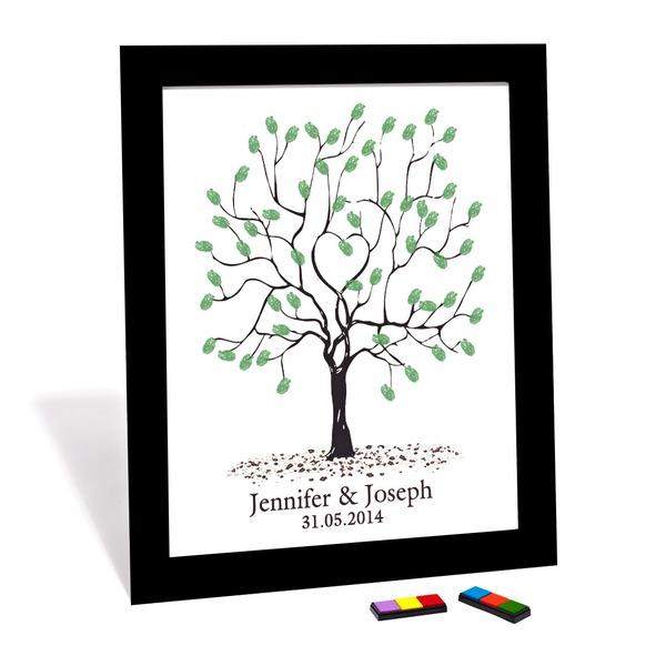 """""""Vårt bröllop Träd"""" Fingeravtryck Signatur Inramad kanfas"""