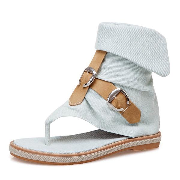 Women's Denim Flat Heel Sandals Flats Peep Toe With Buckle shoes
