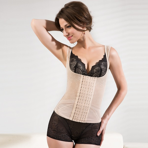 Women Feminine/Classic Cotton/Chinlon Waist Cinchers With Embroidery Shapewear