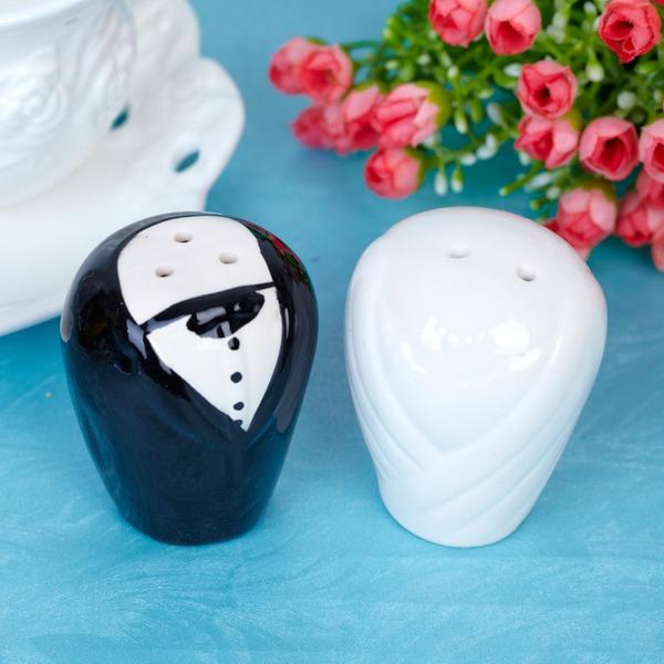 De & bruidegom bruid Keramiek Peper & Zout met Linten/Etiket (Set van 2 stuks)