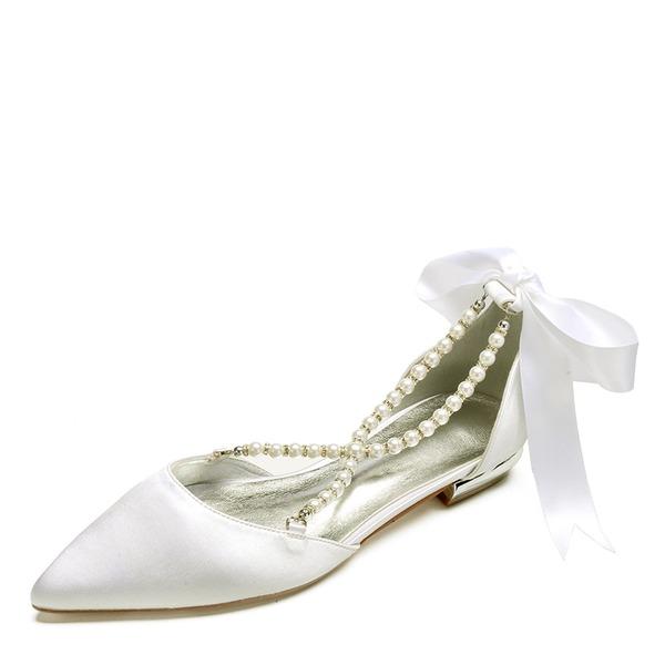 Dla kobiet Satyna Płaski Obcas Zakryte Palce Plaskie Sandały Z Perła