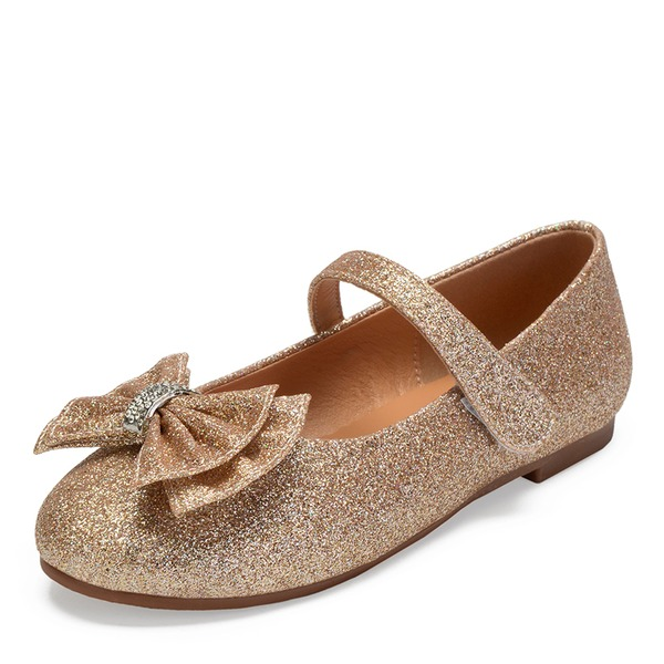 Girl's Round Toe Closed Toe Mary Jane Sparkling Glitter Flat Heel Flower Girl Shoes With Bowknot Rhinestone Sparkling Glitter