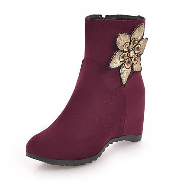 Women's Suede Wedge Heel Wedges Boots Ankle Boots With Applique shoes