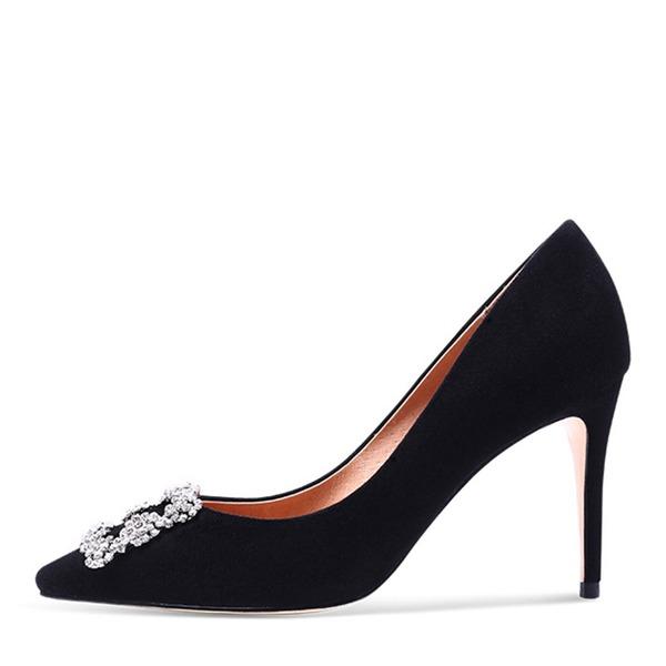 Donna Camoscio Mesh Tacco a spillo Stiletto Punta chiusa con Perla imitazione Altrui Spalline intrecciate Con risvolto Fascia di gomma scarpe