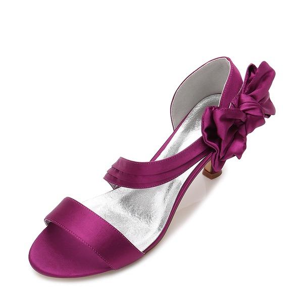 Vrouwen zijde als satijn Stiletto Heel Peep-toe Pumps Sandalen met strik