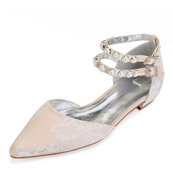 Vrouwen Kunstleer Flat Heel Closed Toe Flats met Stitching Lace Kristal