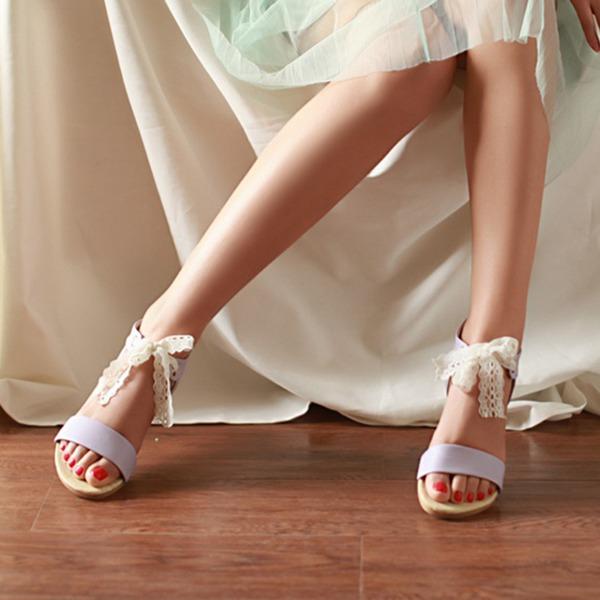 Vrouwen Kunstleer Flat Heel Sandalen Flats Peep Toe met strik schoenen