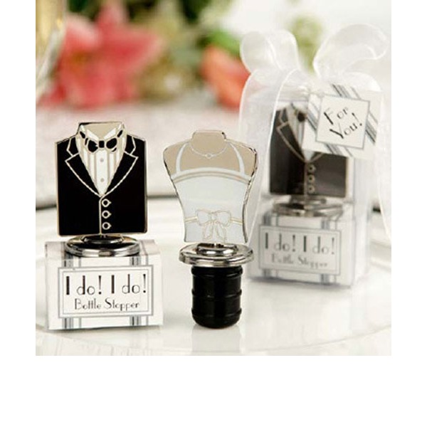 Bride And Groom Stainless Steel Bottle Stoppers (Sold in a single piece)