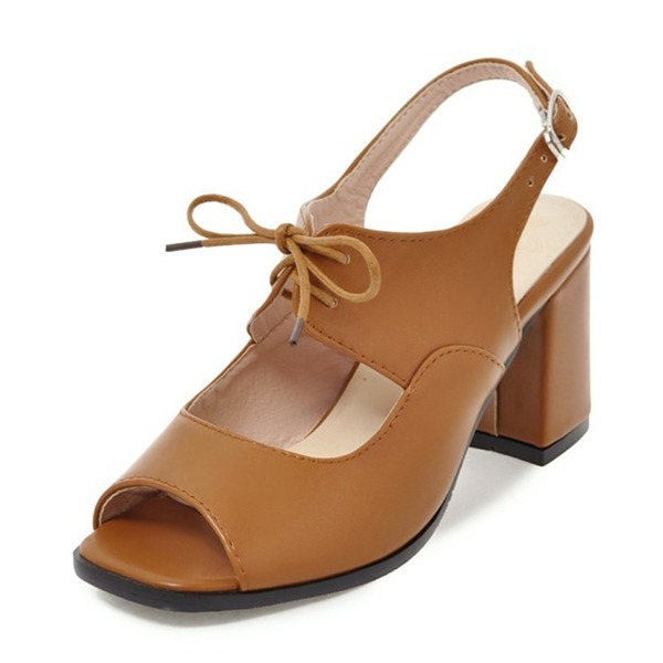 Women's Leatherette Chunky Heel Sandals Pumps Peep Toe Slingbacks With Buckle Lace-up shoes