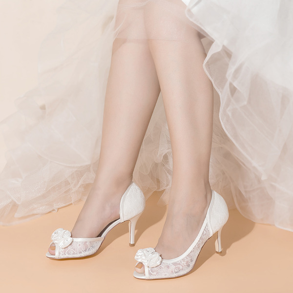 Women's Lace Satin Mesh Stiletto Heel Peep Toe With Flower Applique