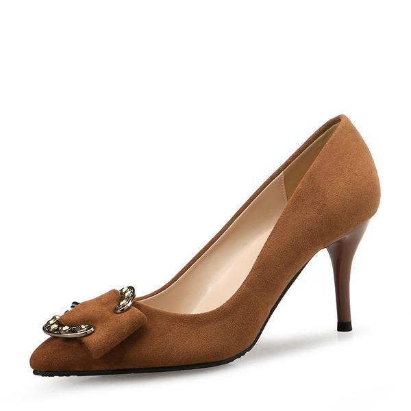 Frauen Veloursleder Stöckel Absatz Absatzschuhe Geschlossene Zehe mit Bowknot Schuhe