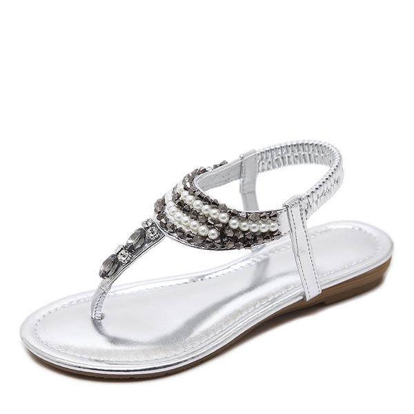 Femmes Similicuir Talon bas Sandales Chaussures plates À bout ouvert Escarpins avec Strass Perle d'imitation Élastique chaussures