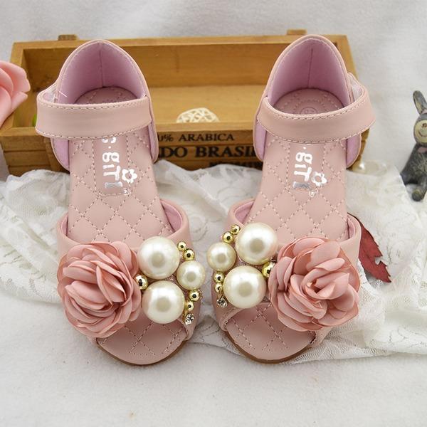 Jentas Titte Tå Leather flat Heel Sandaler Flate sko Flower Girl Shoes med Imitert Perle Sateng Sløyfe Velcro
