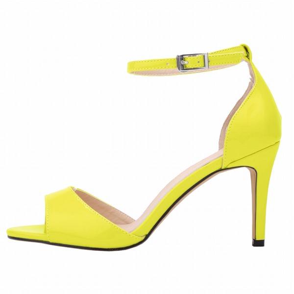 Femmes Cuir verni Talon stiletto Sandales À bout ouvert chaussures
