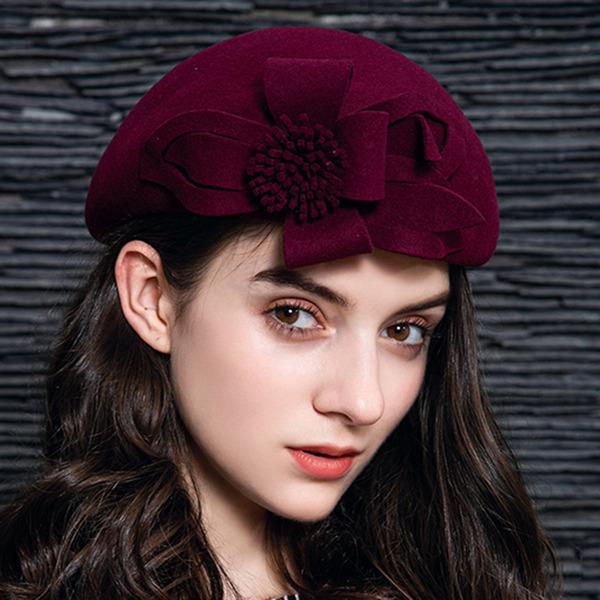 Signore Elegante Lana con Fiore Basco Cappello