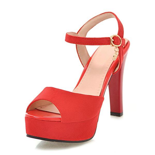 Kvinnor Mocka Konstläder Stilettklack Sandaler Pumps Plattform Peep Toe skor