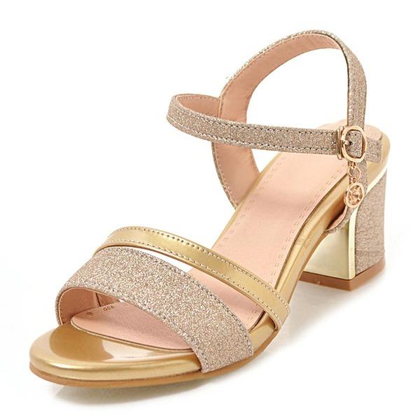 Donna Similpelle Glitter scintillanti Tacco spesso Sandalo Stiletto Punta aperta con Fibbia scarpe