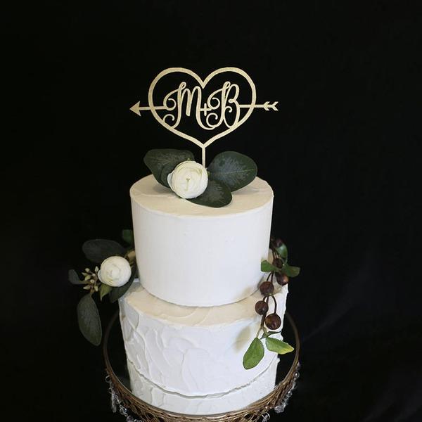 Persoonlijke Bruid & bruidegom initialen Hout Taarttoppers