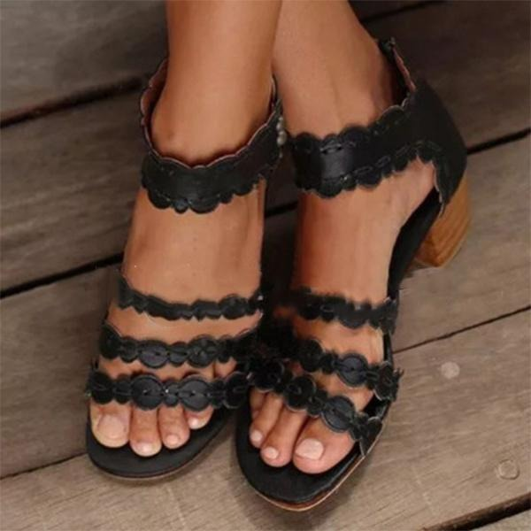 Женщины кожа PU Устойчивый каблук На каблуках Открытый мыс с Застежка-молния обувь