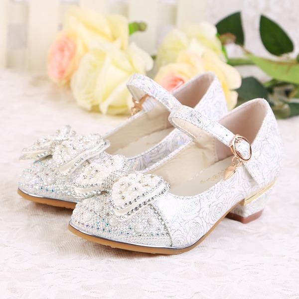 Pigens Lukket Tå Leatherette lav Hæl Pumps Flower Girl Shoes med Perlebesat Spænde Mousserende Glitter