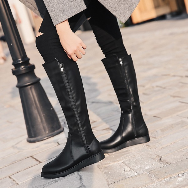 Women's PU Flat Heel Flats Knee High Boots With Zipper shoes