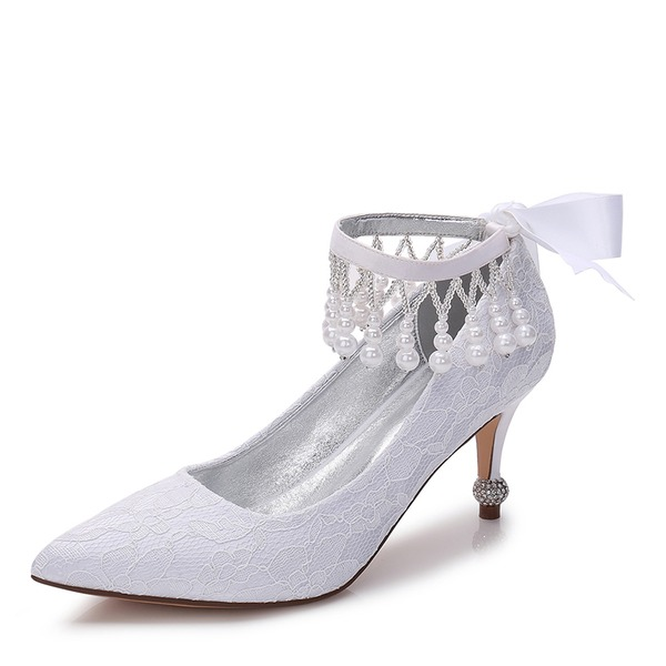 Vrouwen Kant zijde als satijn Stiletto Heel Closed Toe Pumps met strik Imitatie Parel Strass Ribbon Tie Parel