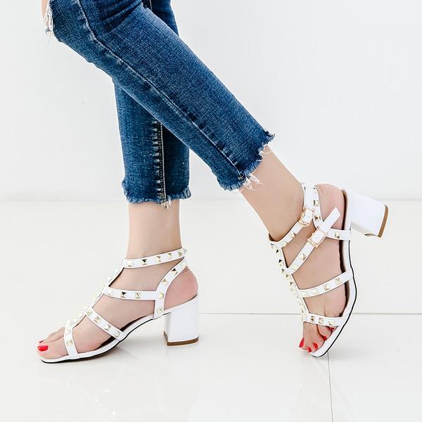 Naisten Mikrokuituliina Nahka Chunky heel Sandaalit Peep toe jossa Niitti kengät