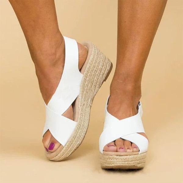 Frauen PU Keil Absatz Sandalen Keile Peep Toe Schuhe