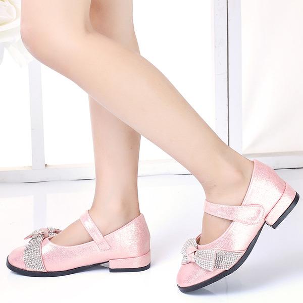 Pigens Round Toe Lukket Tå Leatherette Fladsko med Bowknot Velcro