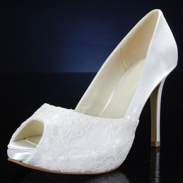 Women's Lace Silk Like Satin Stiletto Heel Platform Pumps