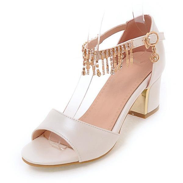Vrouwen Kunstleer Chunky Heel Sandalen Pumps Peep Toe met Strass Tassel schoenen
