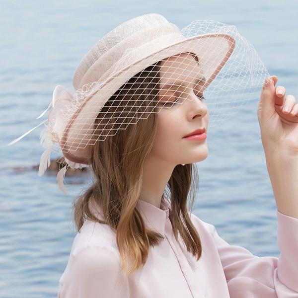 Ladies ' Glamourous/Klasický/Elegantní/Romantický Bílá látka podobná bavlně S Pírko/Tyl Pláž / sluneční klobouky