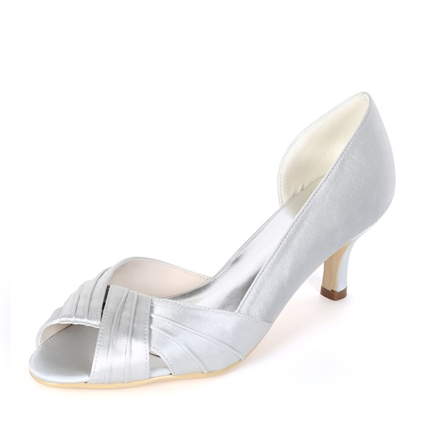 Women's Silk Like Satin Stiletto Heel Peep Toe Pumps With Ruffles