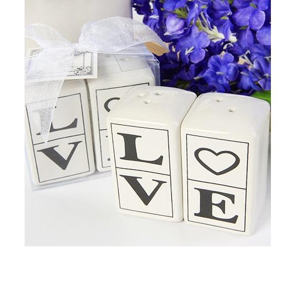 """Amor"" Cerâmica Salt & Pimenta Abanadores (Conjunto de 2 peças)"