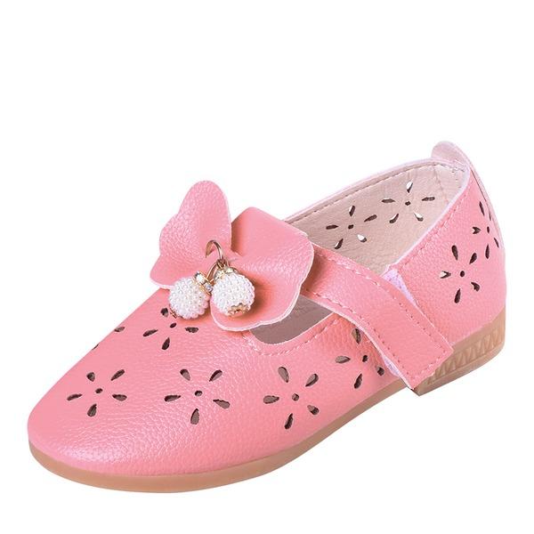 A menina de Toe rodada Fechados imitação de couro Sem salto Sapatas do florista com Bowknot Velcro