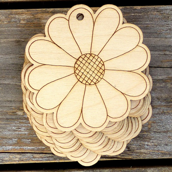 Nice/Beautiful/Flower Design Nice/Lovely/Pretty Wooden Wedding Ornaments (set of 10)