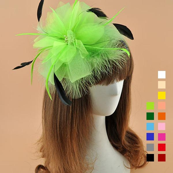 Damene ' Elegant Cambric med Fjær Fascinators/Kentucky Derby Hatter