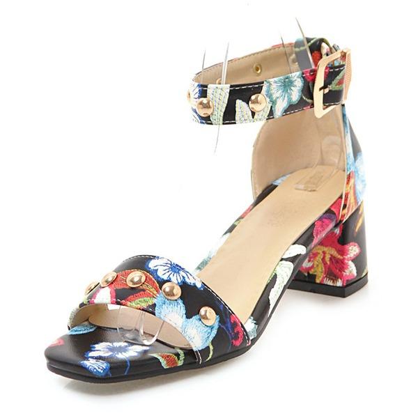 Donna PU Tacco spesso Sandalo Stiletto con Fibbia scarpe
