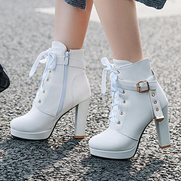 Frauen PU Stöckel Absatz Stiefel Stiefelette mit Schnalle Reißverschluss Zuschnüren Schuhe