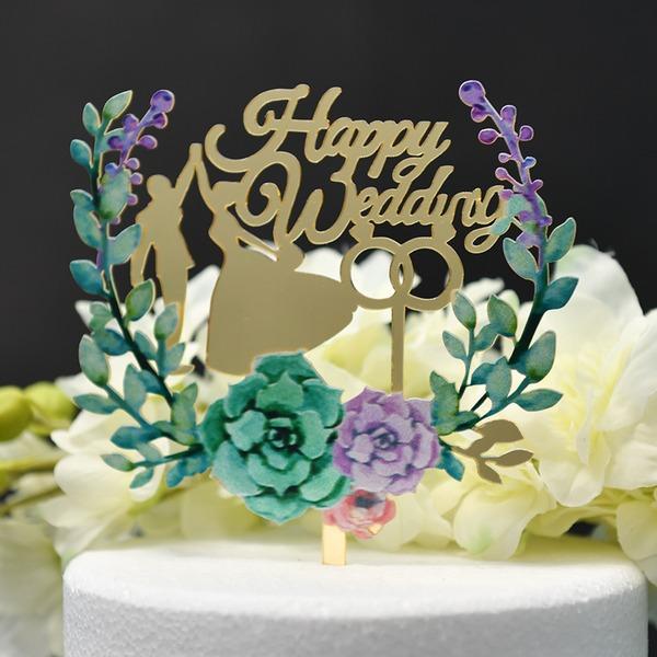 Danse de couples/Mr & Mrs/Une fleur Acrylique Décoration pour gâteaux (Vendu dans une seule pièce)