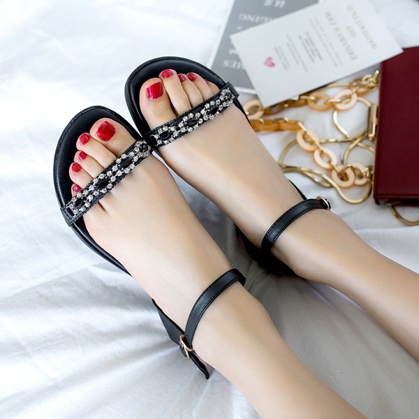 Women's Real Leather Flat Heel Sandals Flats Peep Toe Slingbacks With Rhinestone Buckle shoes