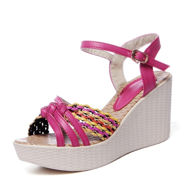 Kvinder PVC Kile Hæl sandaler Kiler Kigge Tå Slingbacks med Flettet Strop sko