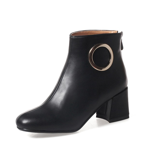 Women's Leatherette Chunky Heel Pumps Boots Ankle Boots shoes