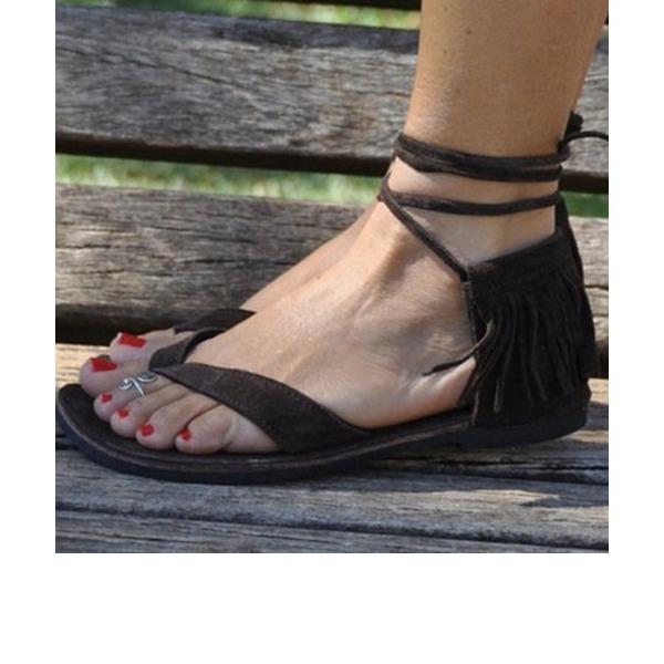 Naisten Mokkanahka Matalakorkoiset Heel Sandaalit Matalakorkoiset jossa Tekojalokivi Tupsu kengät