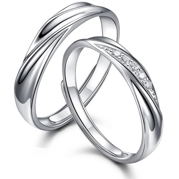 Casais ' Clássico 925 prata esterlina Anéis Ela/Amigos/Menina das flores