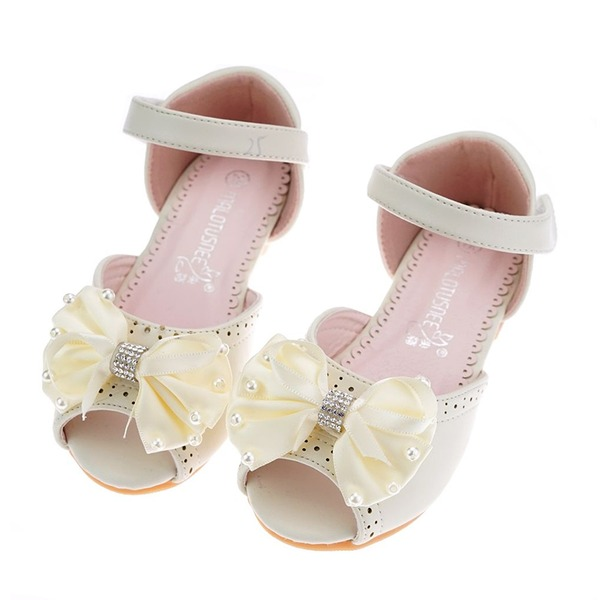 Girl's Peep Toe Microfiber leer Flat Heel Sandalen Flats Bloemenmeisje schoenen met strik Velcro