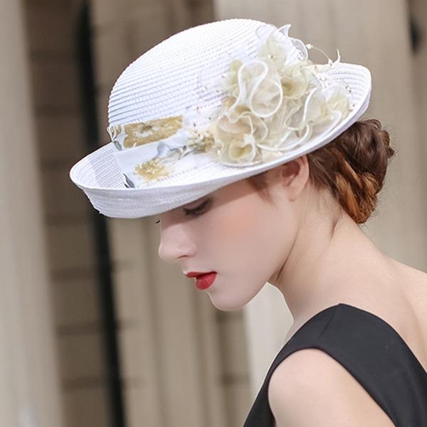 Dames Beau/Mode/Glamour Raphia paille avec Une fleur Chapeaux de plage / soleil