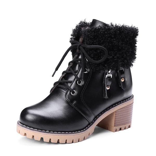 Mulheres PU Salto robusto Bombas Plataforma Botas Bota no tornozelo com Aplicação de renda Pele sapatos